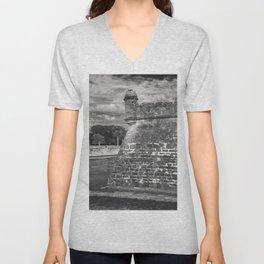 Castillo de San Marcos - black and white Unisex V-Neck