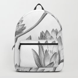 Water Lily Black And White Backpack