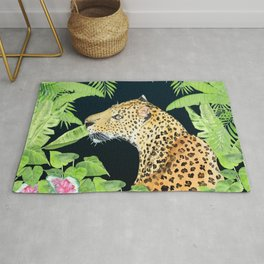 Leopard in Jungle, Night time Background Rug