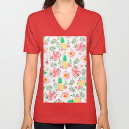 Tropical summer pink yellow watercolor flowers Unisex V-Neck