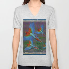 SHABBY CHIC BLUE MACAWS FLIGHT Unisex V-Neck