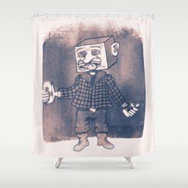 Mr Block Enjoys his Corporate Dividends Shower Curtain