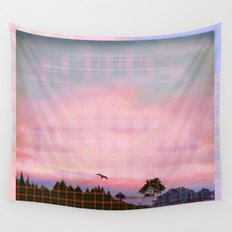 Plaid Landscape Tranquil Sunset Wall Tapestry