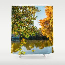 Blue Lake House, Home Sweet Home, Fall Landscape, Lonely Home, Colorful Trees, Autumn Season Shower Curtain
