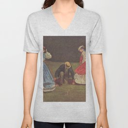 Croquet Scene 1864 By WinslowHomer   Reproduction Unisex V-Neck