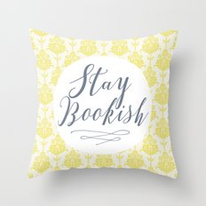 Stay Bookish vintage yellow background Throw Pillow