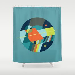 Binaries on Blue Shower Curtain