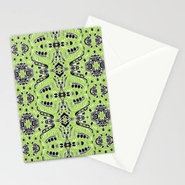 lovely green lumps white black doodle mirrored Stationery Cards