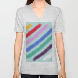 Diagonal Stripes Unisex V-Neck