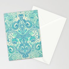 Botanical Geometry - nature pattern in blue, mint green & cream Stationery Cards