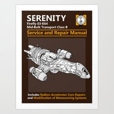 Serenity Service and Repair Manual Art Print