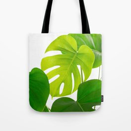 Beautiful Large Green Monstera Leaves On A White Background Fresh Mood #decor #society6 #buyart Tote Bag
