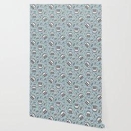Piano smile pattern in grey Wallpaper