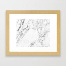 White marble hexagonal beehive Framed Art Print