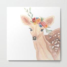 Watercolor Deer Flower Crown Metal Print