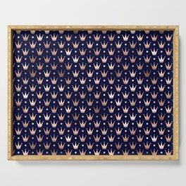 Royal Blue & Rose Gold Crown Pattern Serving Tray