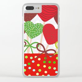 Christmas design Cake pops set with bow gray background with snowflakes. Clear iPhone Case