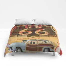 Route 66 Vintage Travel Poster Comforters