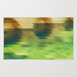 Green yellow triangle pattern, lake Rug