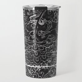 Watercolor Chinoiserie Block Floral Print in Black Ink Porcelain Tiles Travel Mug