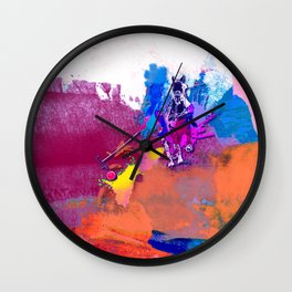 polo abstract red blue Wall Clock