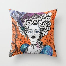 Countess Crabapple by Nefertara Throw Pillow