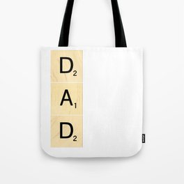 DAD - Vertical Scrabble Tile Art and Accessories for Father's Day Tote Bag