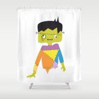 frankenstein Shower Curtains featuring Lord Frankenstein by Creo tu mundo