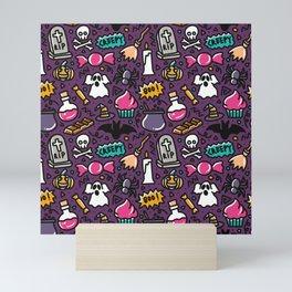 halloween doodle element seamless pattern Mini Art Print