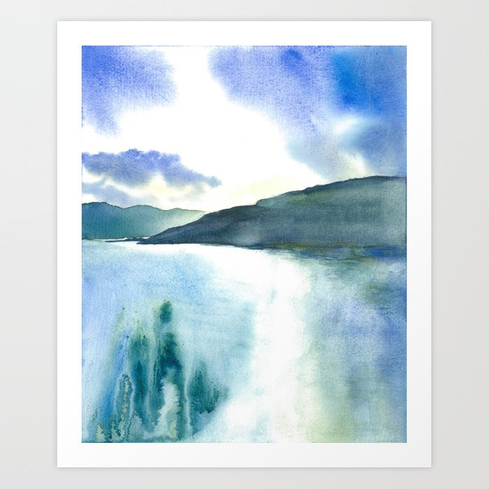 Watercolor Scotland Loch Art Print