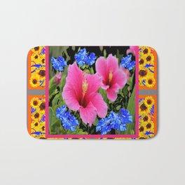 GREY PINK TROPICAL HIBISCUS BLUE-YELLOW FLOWERS Bath Mat