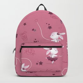 Magic moments with cute bunnies dark pink Backpack