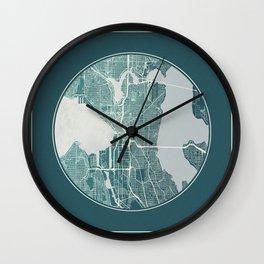 Seattle Map Planet Wall Clock