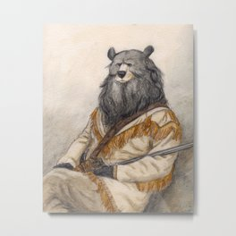 Pioneer Black Bear art print Metal Print