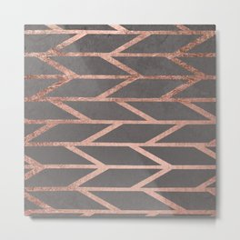 Rose gold chevron stripes geometric pattern on grey cement concrete Metal Print