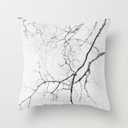 impression of a tree in black and white Throw Pillow