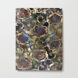 Peonies and Jeweled Dragonflies Pattern Metal Print