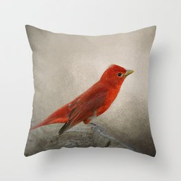Song of the Summer Tanager 2 - Birds Throw Pillow