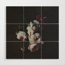 English Roses Still Life - Dark Number Two Wood Wall Art