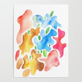 170623 Colour Shapes Watercolor 3| Abstract Shapes Drawing | Abstract Shapes Art|Watercolor Painting Poster