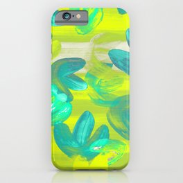 Vibrant Acrylic Painting Layered Tulips Floral Pattern Neon Lime Yellow, Mint Green, Summer Party Vibe iPhone Case
