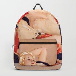 Fleurs du Mal; Woman in Love blond siren portrait painting by Alberto Vargas  Backpack