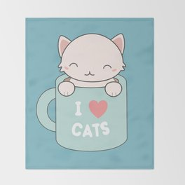 Kawaii Cute I Love Cats Throw Blanket