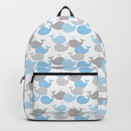 Whale Nautical Blue Gray Backpack