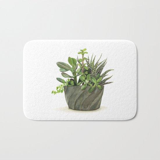 Watercolor Succulents Bath Mat