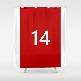 Legendary No. 14 in red and white Shower Curtain