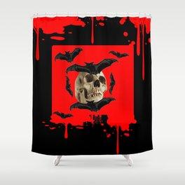 BAT INFESTED HAUNTED SKULL ON BLEEDING HALLOWEEN ART Shower Curtain