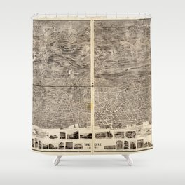 Aerial View of Yonkers, New York (1899) Shower Curtain