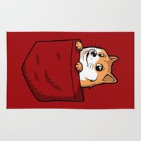 doge Area & Throw Rugs featuring Pocket Shibe (Shiba Inu, Doge) by Tabner's