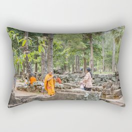 A Monk With an iPad at Bayon Temple, Angkor Thom, Cambodia Rectangular Pillow